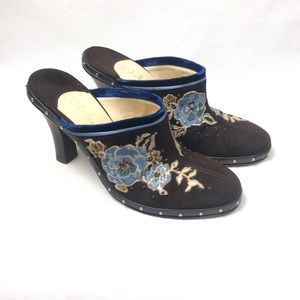 Cole Haan embroidered heeled mules size 8b